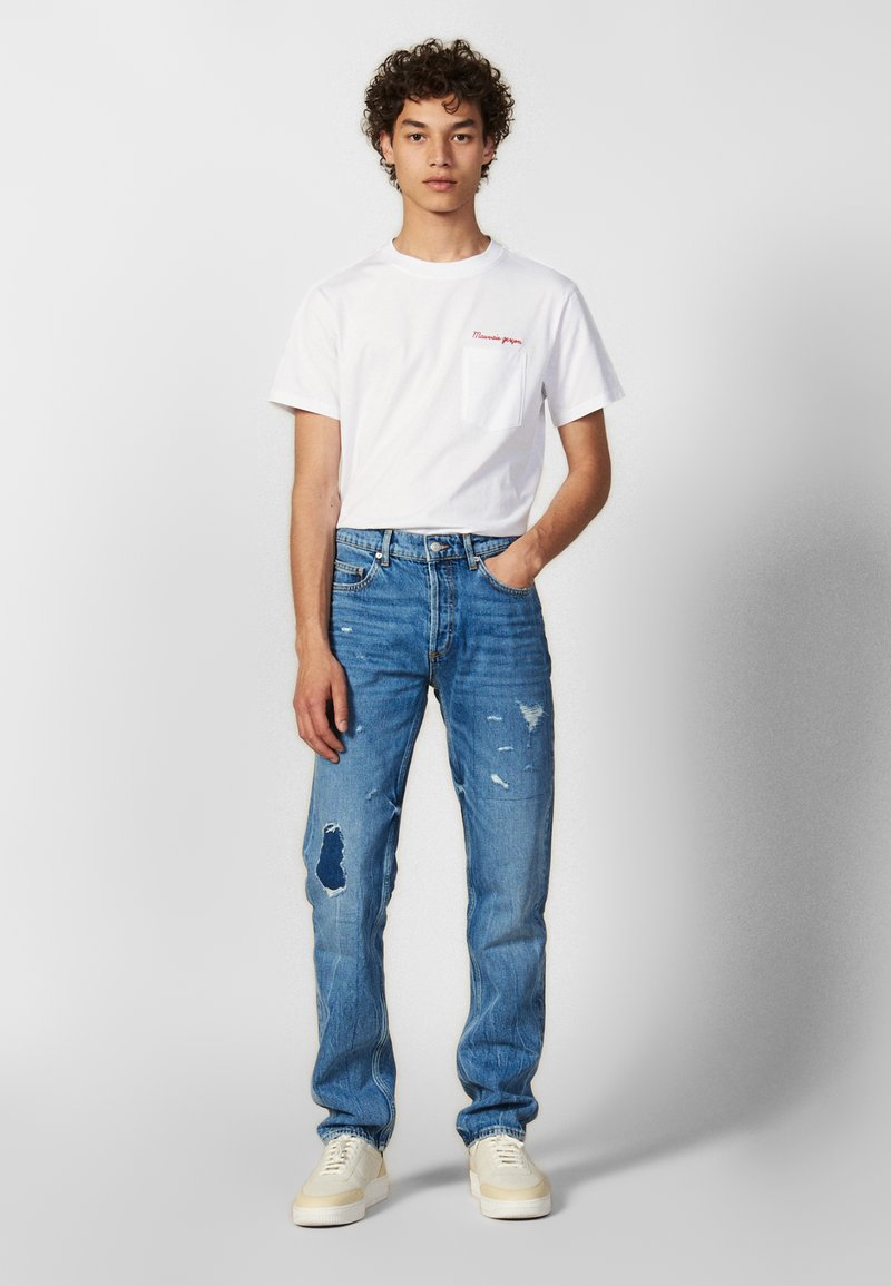 sandro - WASHED DESTROY - Jeans slim fit - blue vintage denim