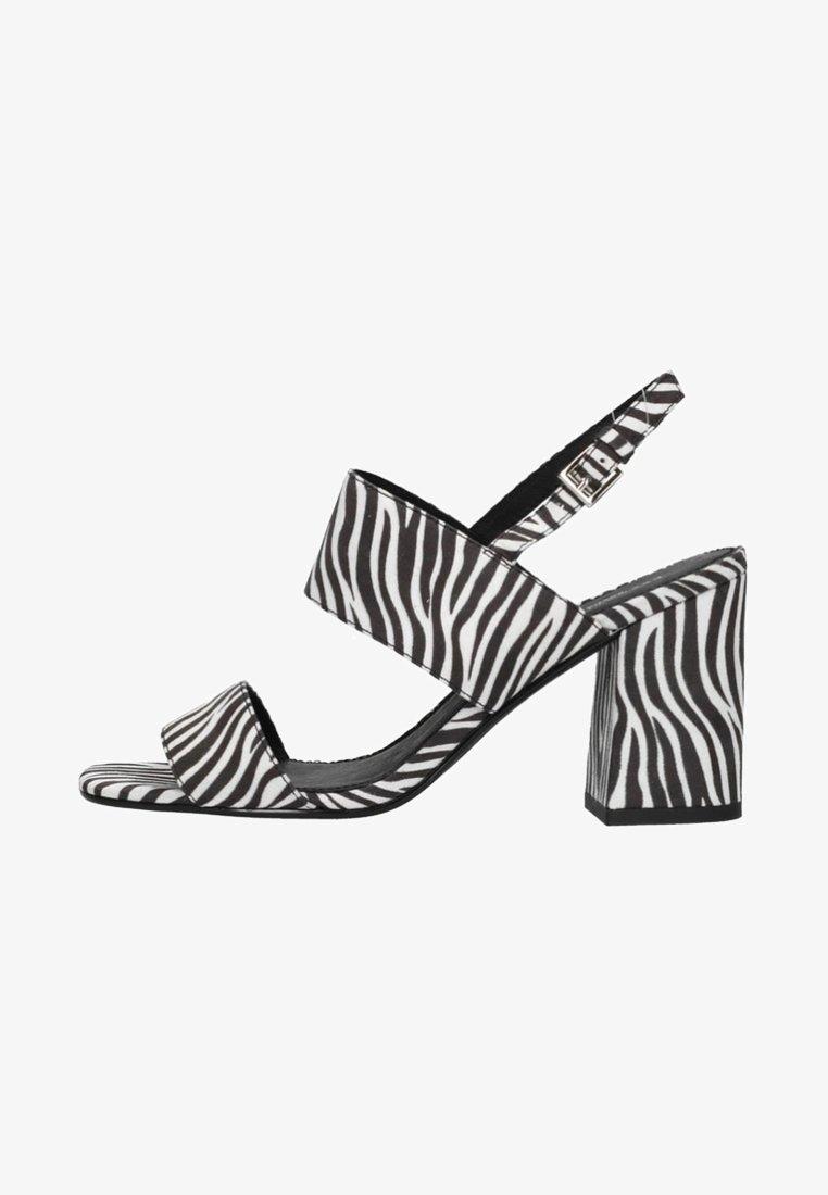 sacha - MIT ZEBRAMUSTER - High heeled sandals -  black