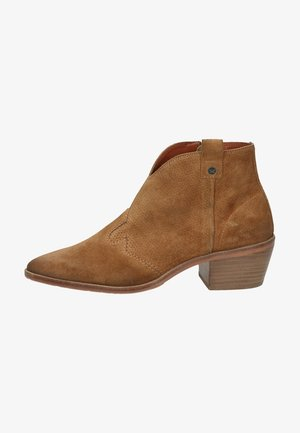 Cowboy/biker ankle boot - medium brown