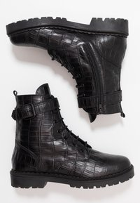 Shoe The Bear - HAILEY LACE UP CROCO - Stivaletti stringati - black - 3