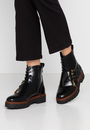 OLIVINE MID LACE BOOT - Cowboy/biker ankle boot - black