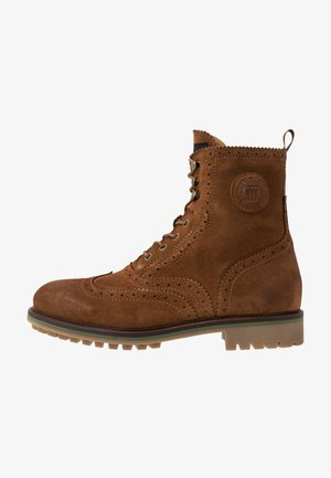 BORREL MID LACE BOOT - Veterboots - cognac