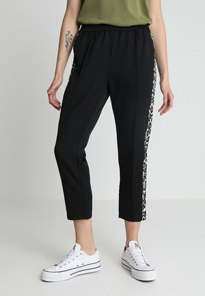 TAPERED LEG PANTS WITH CONTRAST SIDE PANELS - Pantaloni - black