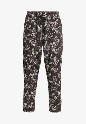 PRINTED PANTS WITH STRIPED SIDE TAPE - Bukse - dark brown/white/multi-coloured