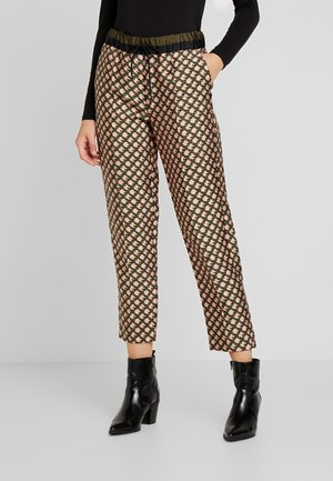 PRINTED PANTS WITH CONTRAST WAISTBAND - Trousers - dark blue