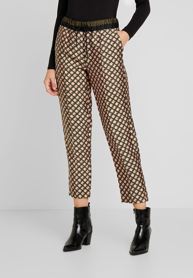PRINTED PANTS WITH CONTRAST WAISTBAND - Pantaloni - dark blue
