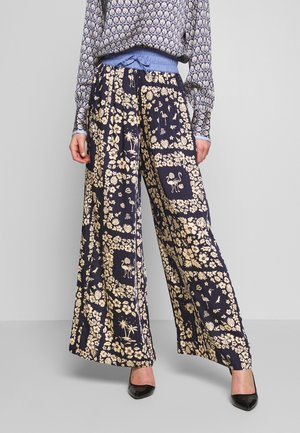 WIDE LEG PANTS WITH CONTRAST WAISTBAND - Pantalones - blue