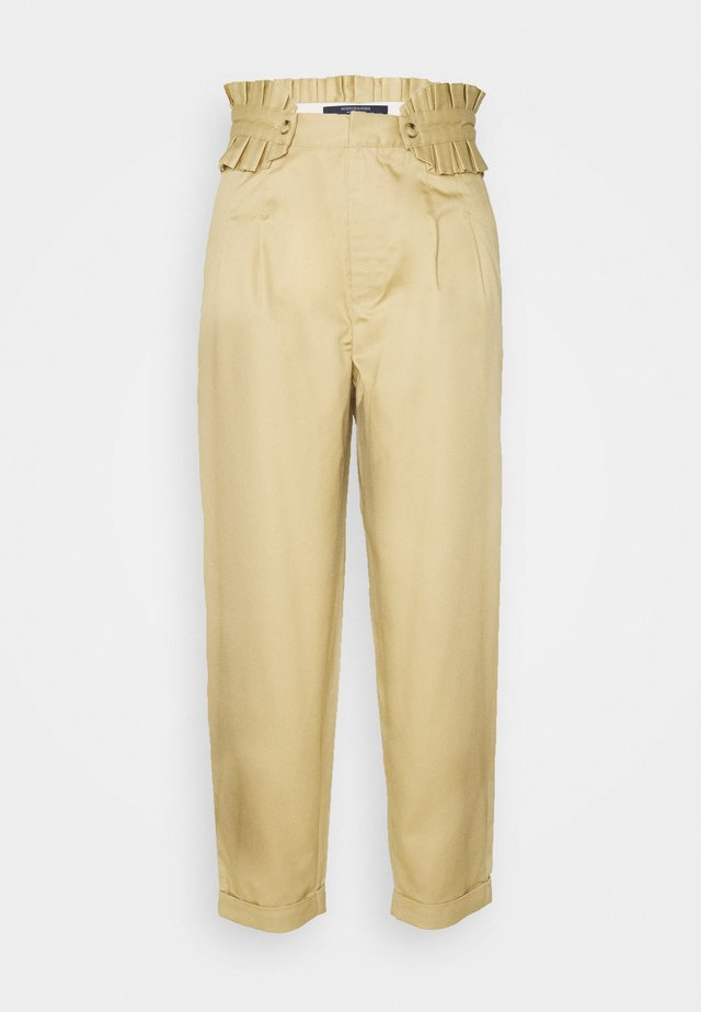 CLEAN WITH DETACHABLE PLEATED BELT - Broek - sand