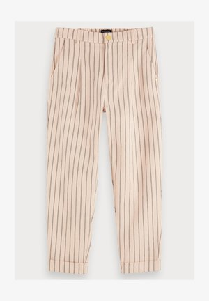 100% COTTON HIGH-RISE STRAIGHT LEG STRIPED PANTS - Broek - combo a