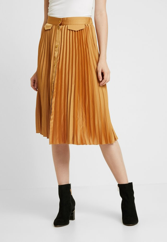 PLEATED MIDI SKIRT WITH PLACKET - Spódnica trapezowa - honey