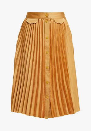 PLEATED MIDI SKIRT WITH PLACKET - Áčková sukně - honey
