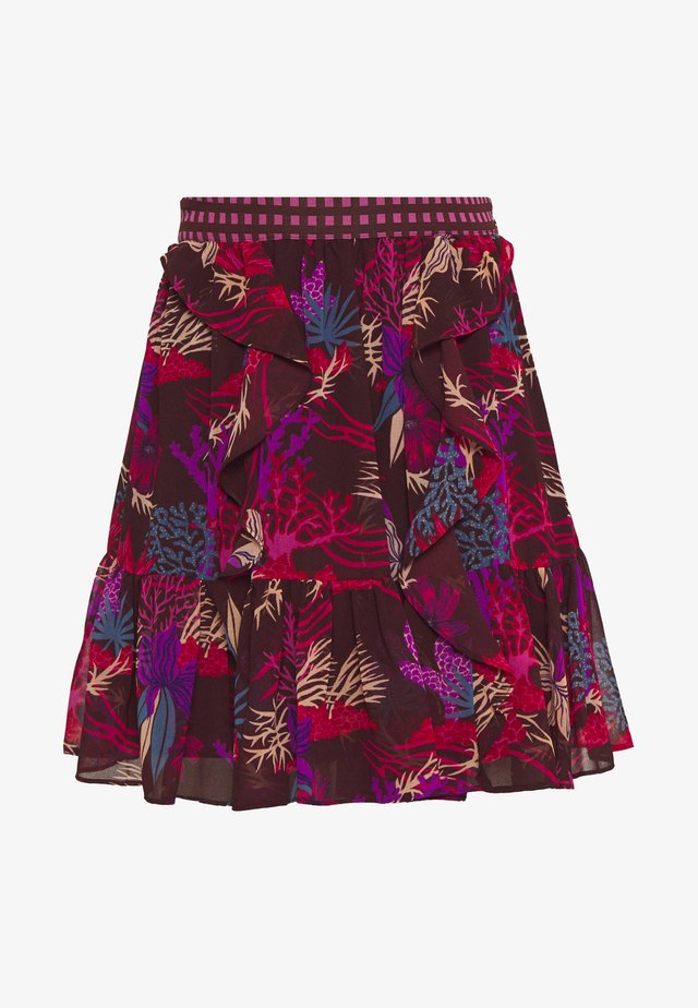 PRINTED RUFFLE SKIRT - Minigonna - black/pink/blue