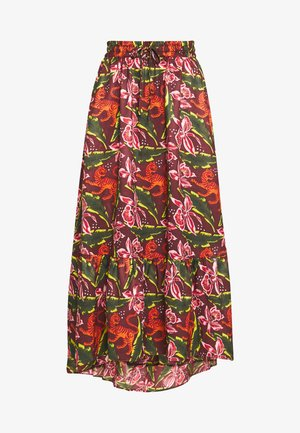SKIRT - Maxi skirt - dark green/pink
