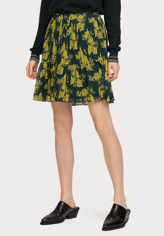 PRINTED SKIRT WITH PLEATS - A-lijn rok - yellow