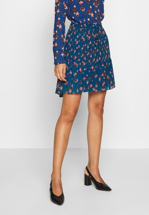 PRINTED SKIRT WITH PLEATS - A-line skjørt - blue/pink