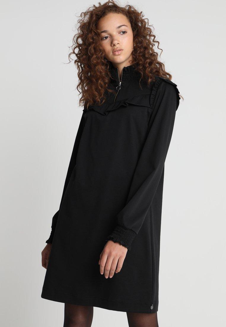 Scotch & Soda - SMOCKED HIGH NECK DRESS - Jerseykjoler - black