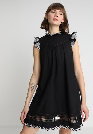 A-LINE DRESS WITH EMBROIDERY AND LADDER TAPES - Kjole - black
