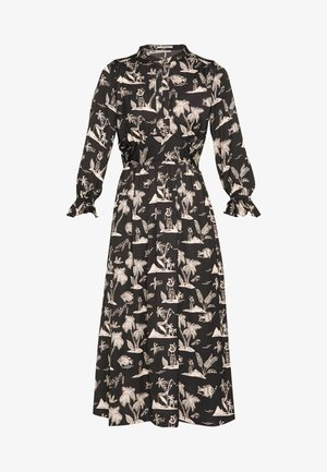 MIDI LENGTH DRESS WITH FITTED WAIST - Robe d'été - black/white