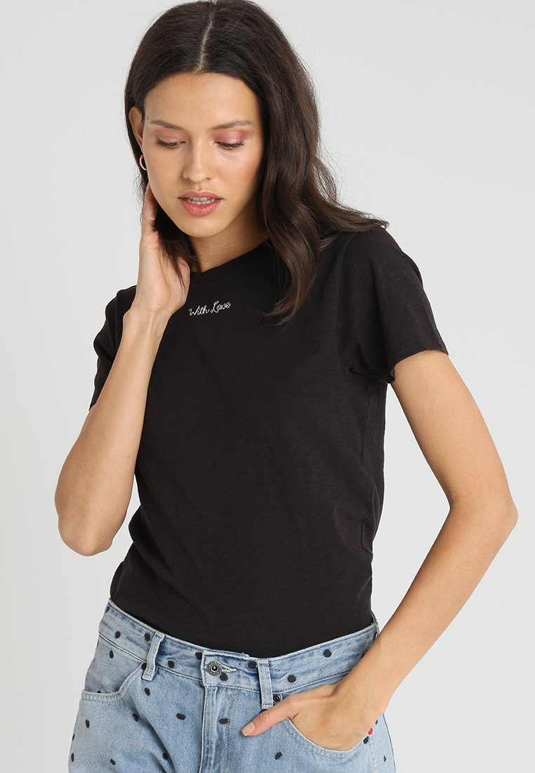 Scotch & Soda - BASIC TEE WITH SMALL EMBROIDERY - T-Shirt print - black