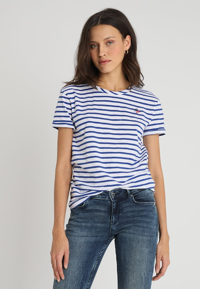 Scotch & Soda - STRIPED TEE WITH PLACEMENT EMBROIDERY - Print T-shirt - combo