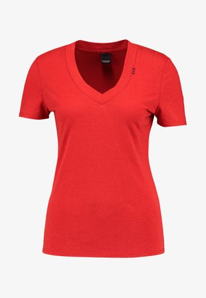 WITH DEEP V NECK - Jednoduché triko - rescue red