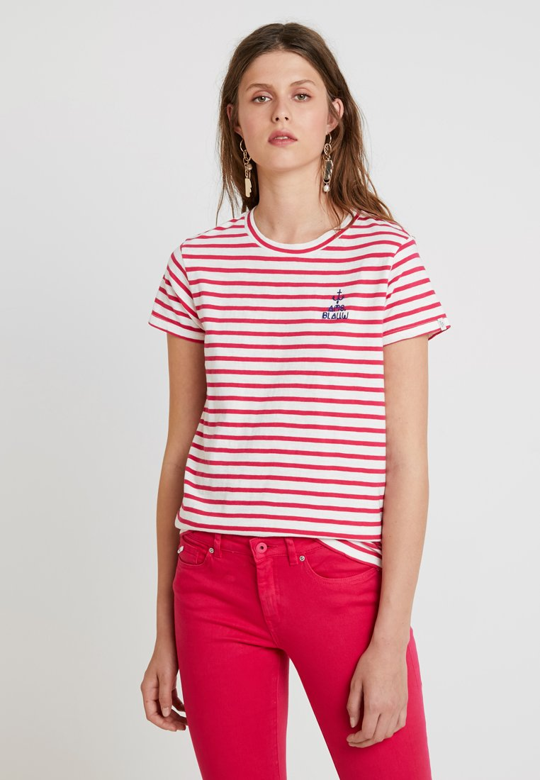 Scotch & Soda - SLEEVE TEE WITH EMBROIDERY - T-Shirt print - red/white