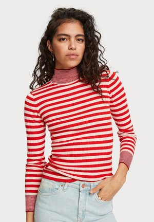 TURTLE NECK WITH DETAILS - Trui - red