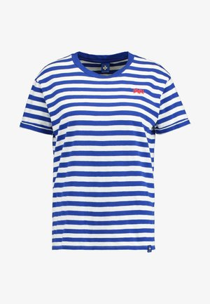 EASY STRIPED TEE WITH CHEST EMBROIDERY - T-shirt con stampa - white