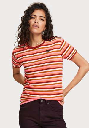 EASY STRIPED TEE WITH CHEST EMBROIDERY - T-shirt print - orange