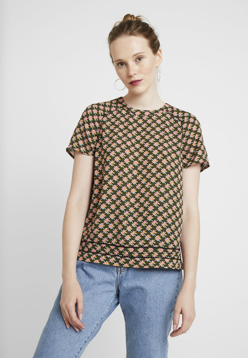 Scotch & Soda - SHORT SLEEVE PRINTED WITH LADDER INSERTS - Bluser - combo