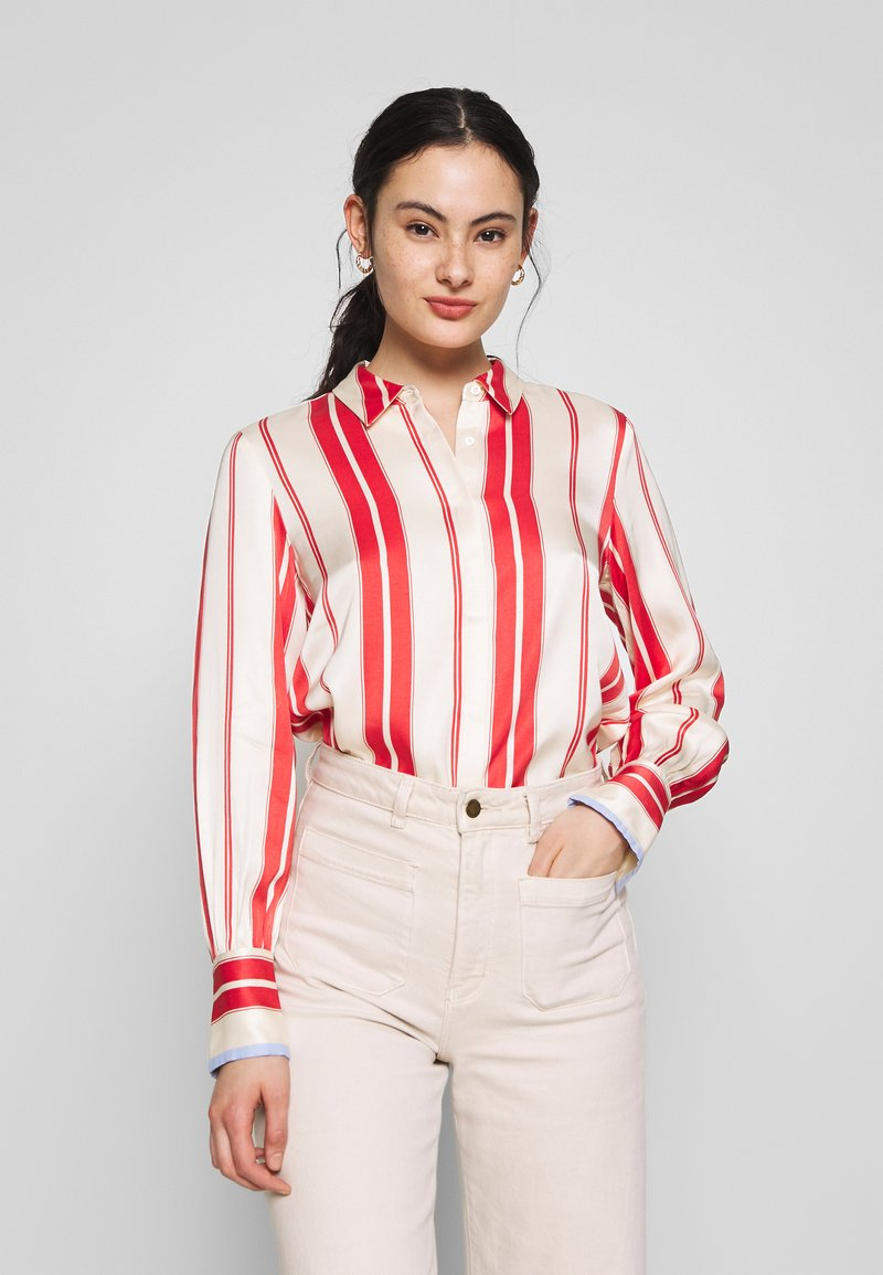 Scotch & Soda - REGULAR FIT CLEAN WITH POPLIN DETAILS - Button-down blouse - off white/red