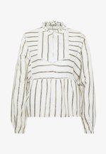 METALLIC STRIPED WITH LADDER TAPES - Camicetta - off-white/gold