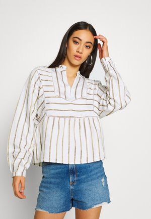 METALLIC STRIPED WITH LADDER TAPES - Blouse - off-white/gold