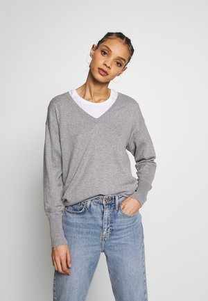 V NECK - Strikkegenser - grey melange