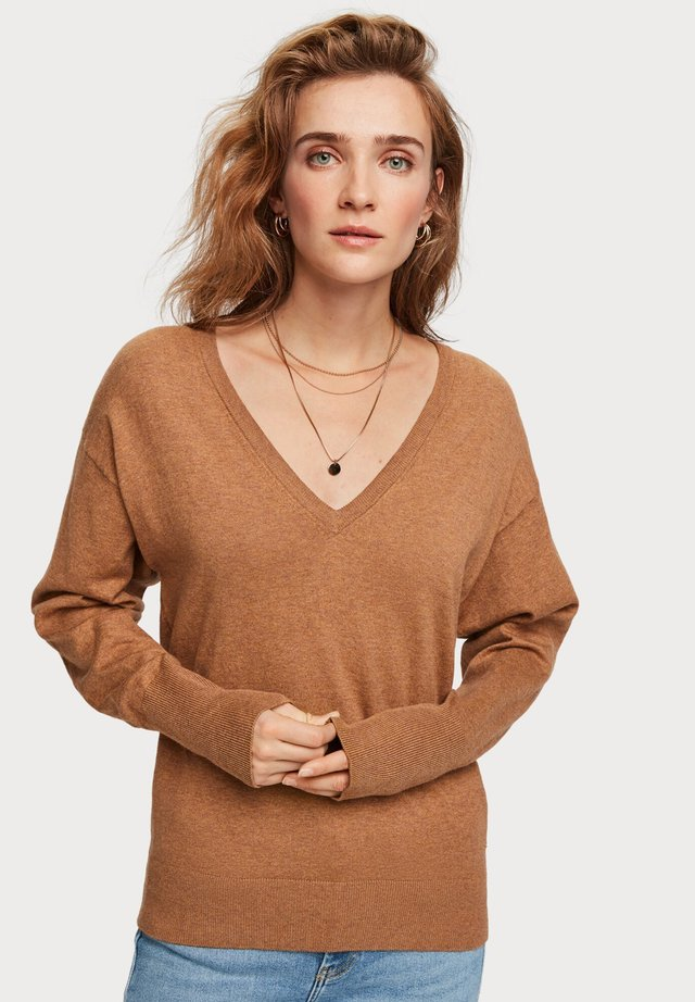 V NECK - Trui - brown melange