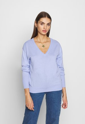 LOOSE WITH NECK - Strikkegenser - sky blue