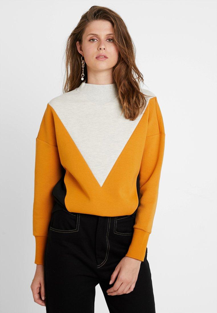Scotch & Soda - COLOR BLOCK - Sweatshirts - off-white/orange