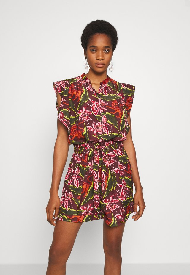 PRINTED ALL IN ONE - Tuta jumpsuit - dark green, pink, red