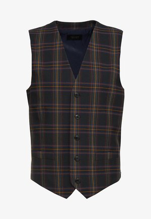 CHIC PARTY GILET IN YARN-DYED CHECK PATTERN - Suit waistcoat - dark blue