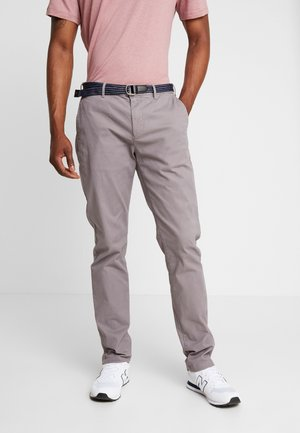 STUART WITH BELT IN STRETCH - Pantalones chinos - grey