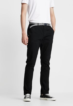 STUART WITH BELT IN STRETCH - Pantalones chinos - black