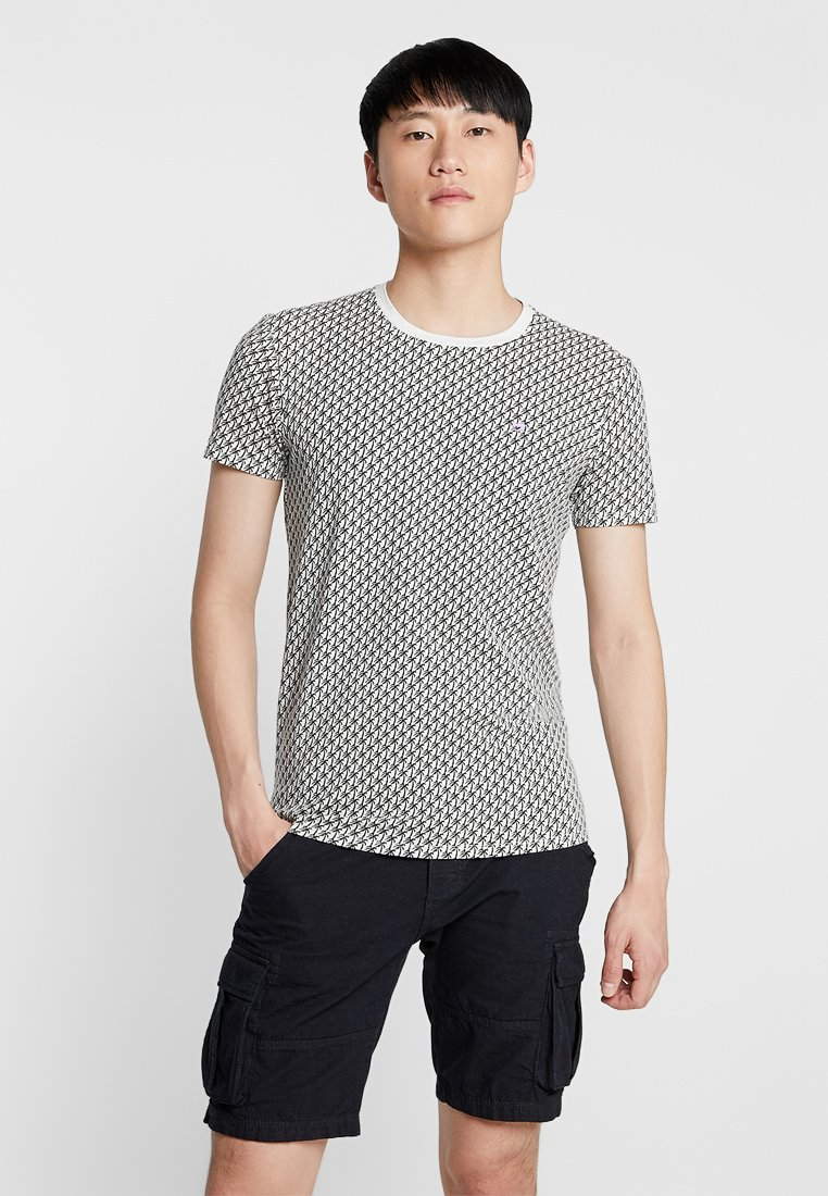 Scotch & Soda - CLASSIC CREWNECK TEE - Print T-shirt - white/black