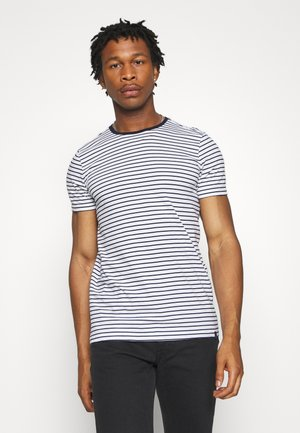 EASY CREWNECK TEE - T-shirt print - white/dark blue