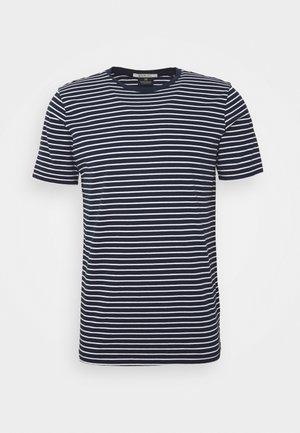 EASY CREWNECK TEE - T-shirt print - dark blue/white