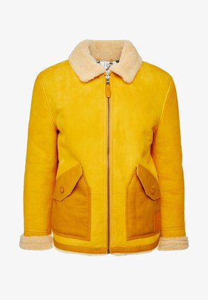SEASONAL SHORT SHEARLING JACKET - Leather jacket - sunflower yellow