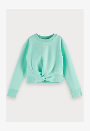 CROPPED WITH KNOT DETAIL AND THEME ARTWORKS - Sweatshirt - light turquoise