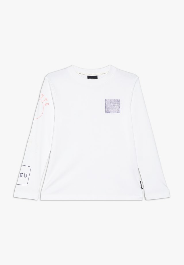 LONG SLEEVE WITH PLACED ARTWORKS - Long sleeved top - white