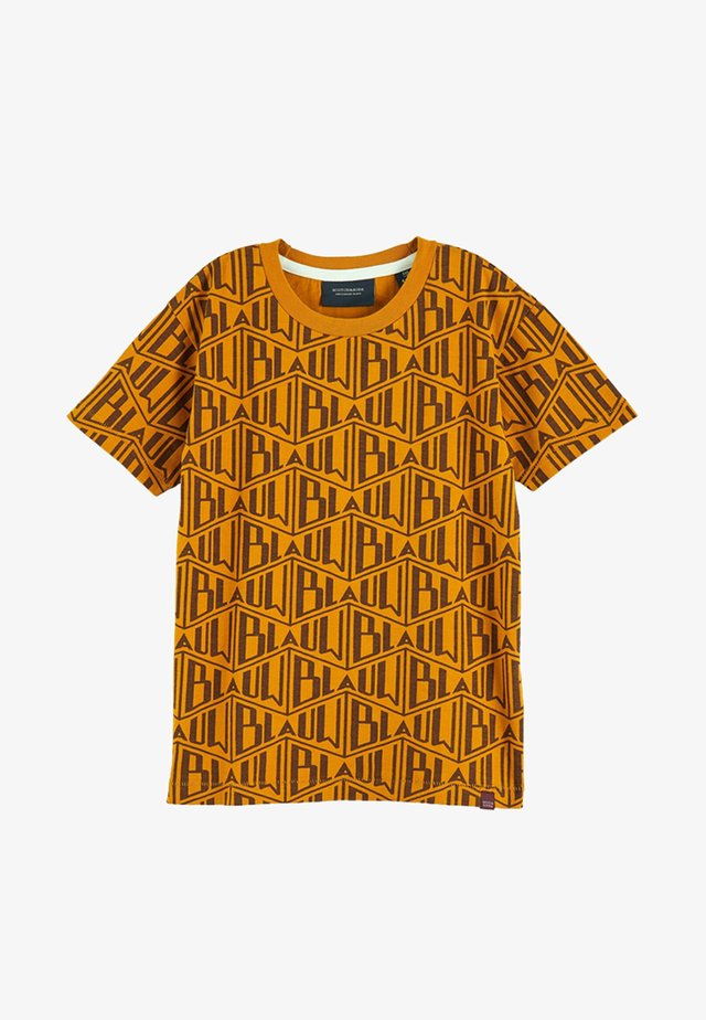 CREW NECK TEE WITH ALLOVER - T-shirt print - tabacco