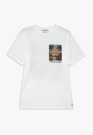 TEE WITH POSTCARD ARTWORK - Print T-shirt - off white