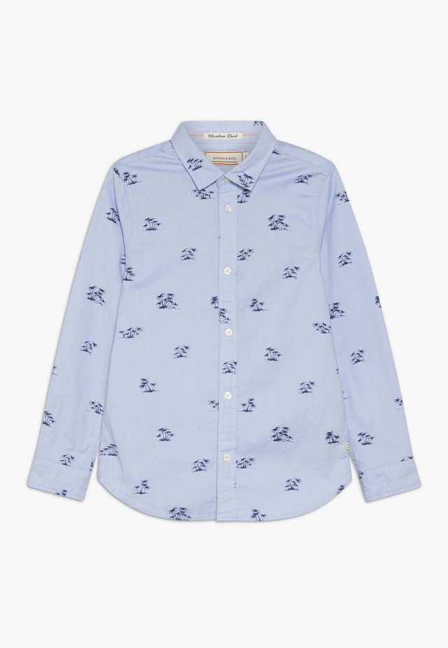 STRETCH OXFORD LONG SLEEVE WITH ALL OVER PRINT - Skjorta - blue